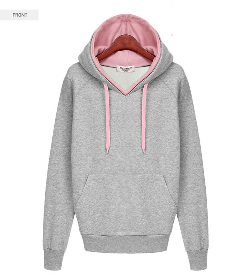 Splicing Pure Color Pullover Slim Hoodie - Meet Yours Fashion - 5