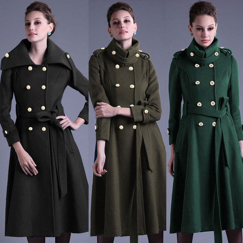 Stand Collar Button Belt Pleated Long Coat - Meet Yours Fashion - 2