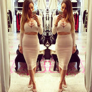 Bandage Crop Top and Bodycon Skirt Dress Suit - MeetYoursFashion - 2