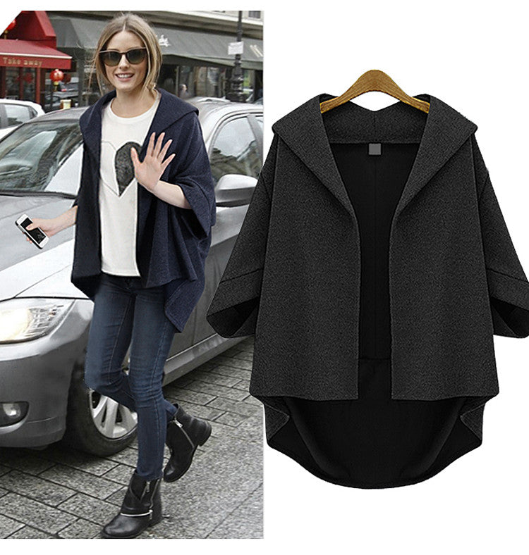 Solid 3/4 Sleeves Cardigan Batwing Plus Size Coat - Meet Yours Fashion - 5