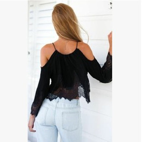 Off-shoulder Lace Patchwork Crop Top Long Sleeve Chiffon Blouse