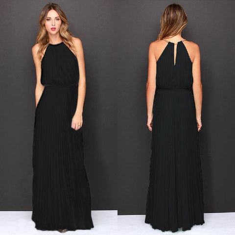 Formal Bear Shoulder Pleated Long Chiffon Maxi Party Prom Dress - MeetYoursFashion - 4