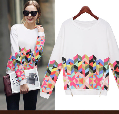 Trendy Print Scoop Pullover Light Slim Sweatshirt - Meet Yours Fashion - 2