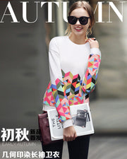 Trendy Print Scoop Pullover Light Slim Sweatshirt - Meet Yours Fashion - 1