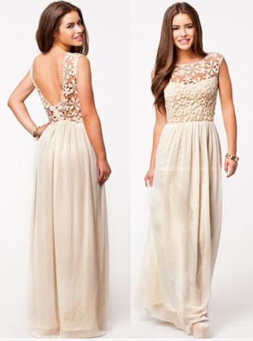 Lace Chiffon Backless Long Prom Dress - MeetYoursFashion - 8