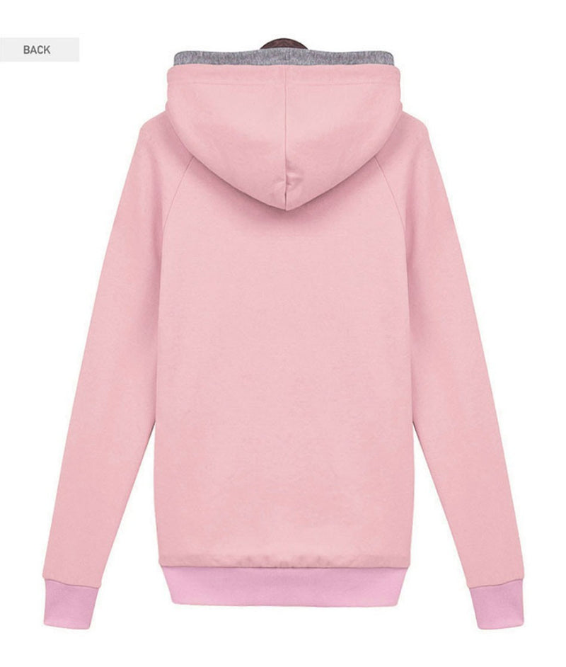 Splicing Pure Color Pullover Slim Hoodie - Meet Yours Fashion - 4