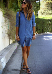 Casual Long Sleeve Loose Long Style Denim Dress - May Your Fashion - 5