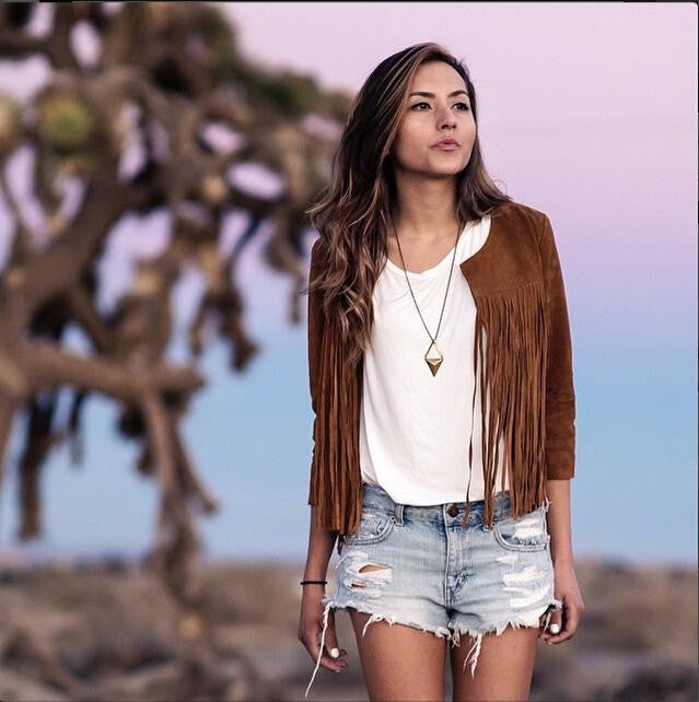 Brown Tassel Long sleeve outerwear - Meet Yours Fashion - 3
