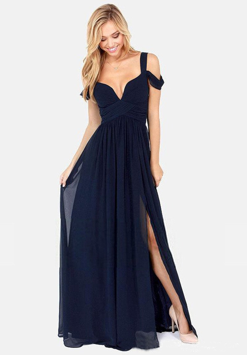 Solid Color Sexy Backless V-neck Party Dress Long Dress - Meet Yours Fashion - 5