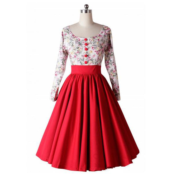 Retro Hepburn Floral Print Patchwork Long Sleeves Dress