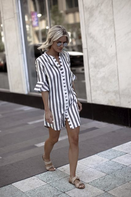 Buttons Stripes V-neck Short Trumpet Sleeves Long Blouse