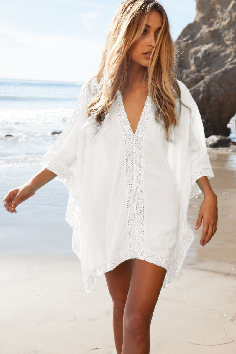 Loose V-neck Long Sleeve Short Beach Cover Up Dress - Meet Yours Fashion - 1