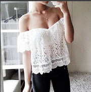 Strapless Off-shoulder Lace Hollow Out Casual Short Sleeves Blouse