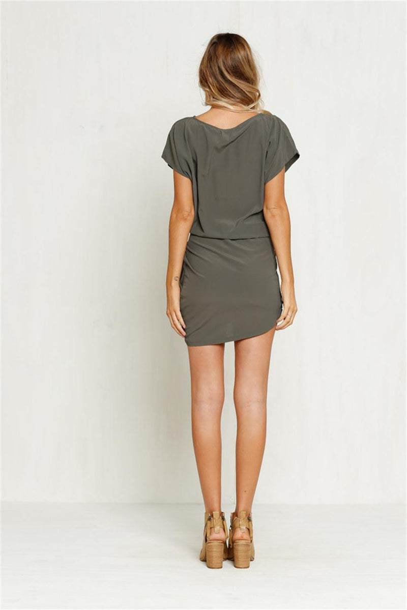 O-neck Irregular Pure Color Short Sleeve Short Dress