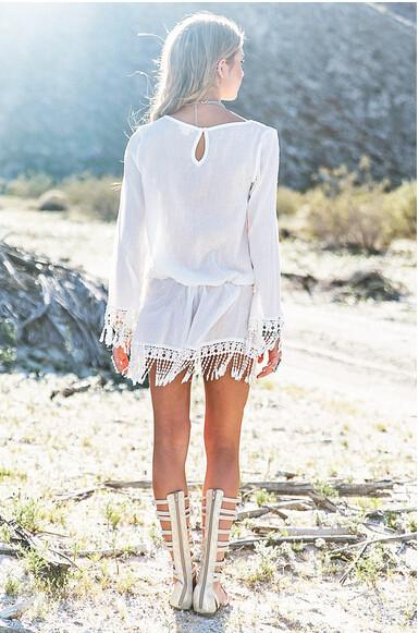 Sexy Long Sleeves V-neck Fringe Beach Cover Up Dress - Meet Yours Fashion - 3