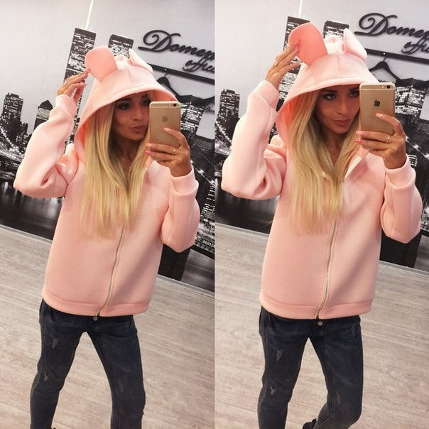 Solid Candy Color Zipper Cute Short Hooded Coat - Meet Yours Fashion - 6