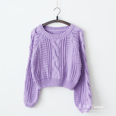 Cable Sleeve Coarse Yam Pure Color Pullover Sweater - Meet Yours Fashion - 5