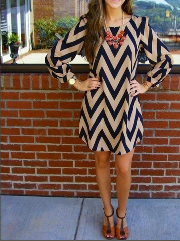 Stripe O-neck Long Sleeve Short Dress - Meet Yours Fashion - 2