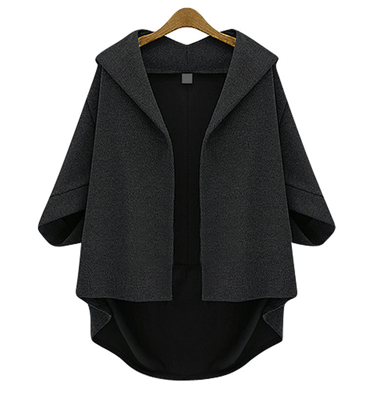 Solid 3/4 Sleeves Cardigan Batwing Plus Size Coat - Meet Yours Fashion - 7