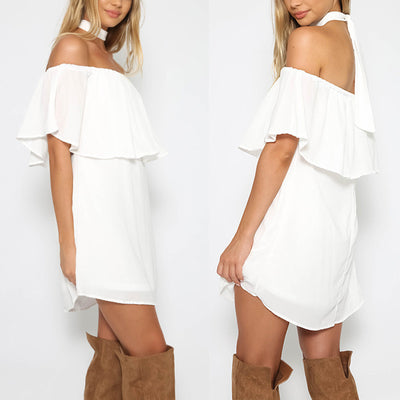 Off Shoulder Pure Color Irregular Short Dress - Meet Yours Fashion - 2