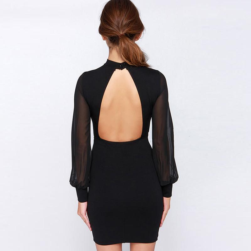 Slim Pure Color Splicing Backless Long sleeve Short Dress - Meet Yours Fashion - 5