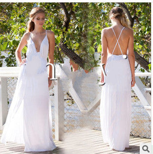 Deep V-neck Straps Split Backless Long Dress - MeetYoursFashion - 4