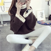 Korean Solid Color Knit Big Pullover Splicing Sweater - Meet Yours Fashion - 5