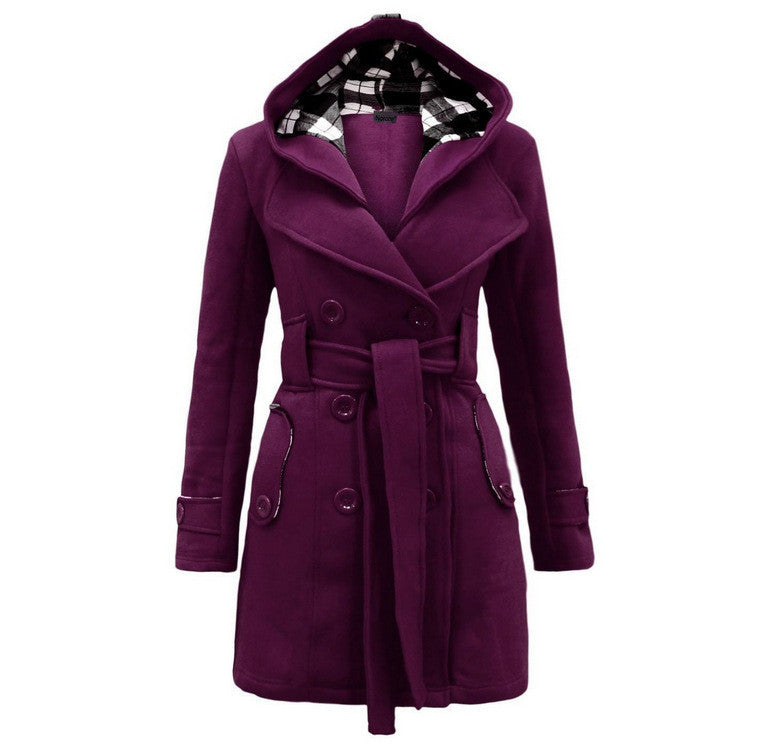 Plus Size Double Breasted Long with Belt Hooded Coat - MeetYoursFashion - 8