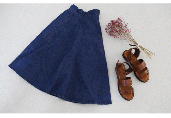 A-line Flared Pleated Slim Denim Middle Skirt - Meet Yours Fashion - 4