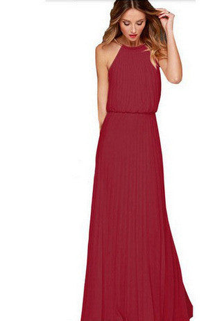 Formal Bear Shoulder Pleated Long Chiffon Maxi Party Prom Dress - MeetYoursFashion - 5
