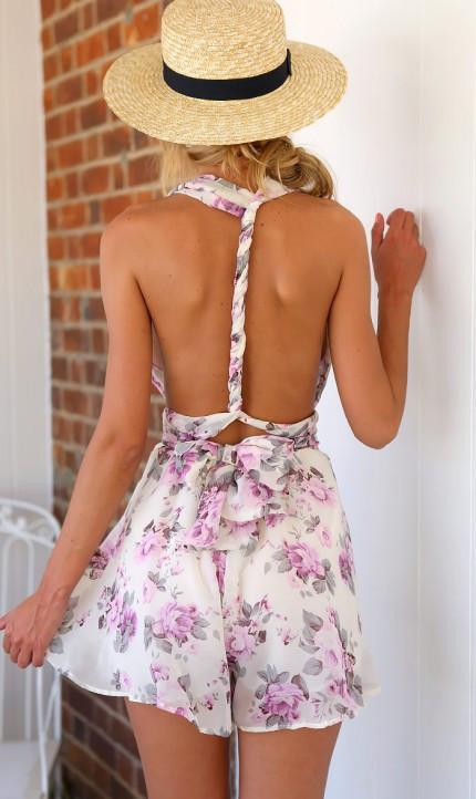 Deep V-neck Flower Print Empire Back Cross Short Jumpsuits - Meet Yours Fashion - 4