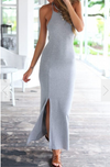 Spaghetti Strap Split Backless Solid Slim Beach Dress - Meet Yours Fashion - 4