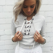 Pullover Solid Color Lace Up Scoop Short Sweatshirt - Meet Yours Fashion - 2