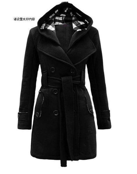 Plus Size Double Breasted Long with Belt Hooded Coat - MeetYoursFashion - 3