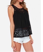 Sleeveless Scoop Lace Patchwork Spilt Crochet Blouse - Meet Yours Fashion - 1