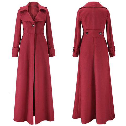 Turn-down Collar Woolen Slim Full Length Coat - Meet Yours Fashion - 9