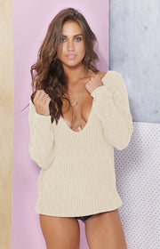 Ribbed Knit Deep V-neck Asymmetric Dropped Shoulder Solid Pullover Sweater - Meet Yours Fashion - 3