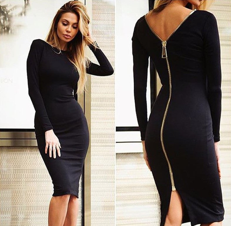 Zipper Long Sleeve Pure Color O-neck Knee-Length Dress