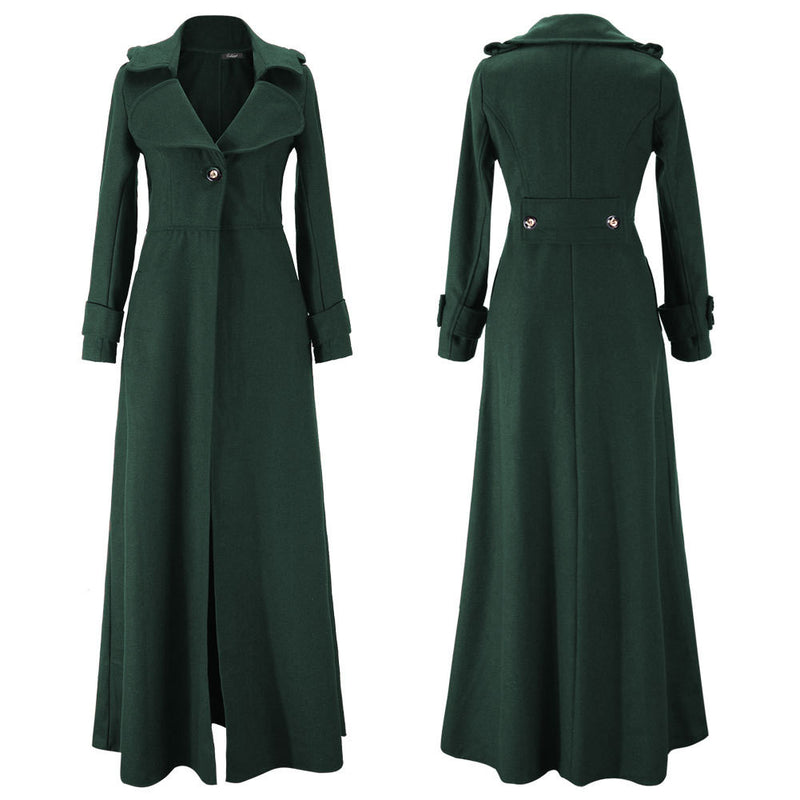 Turn-down Collar Woolen Slim Full Length Coat - Meet Yours Fashion - 11