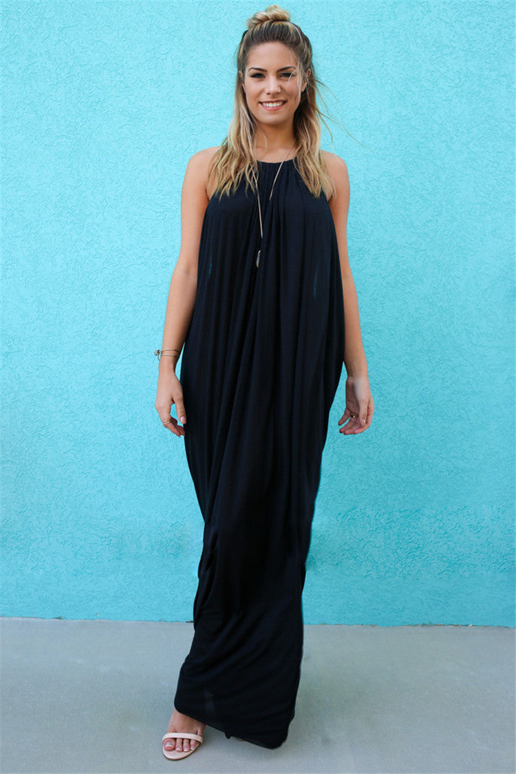 Spaghetti Straps Backless Scoop Long Dress