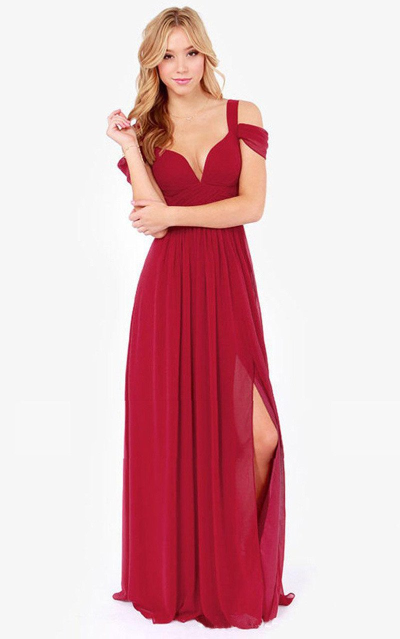 Solid Color Sexy Backless V-neck Party Dress Long Dress - Meet Yours Fashion - 3
