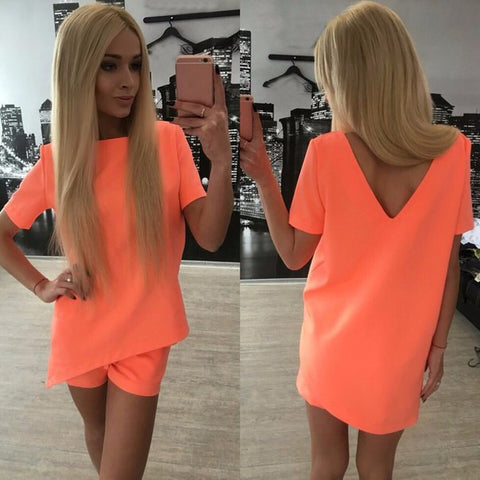 Short Sleeves Pure Color Blouse Shorts Two Pieces Suits - Meet Yours Fashion - 6