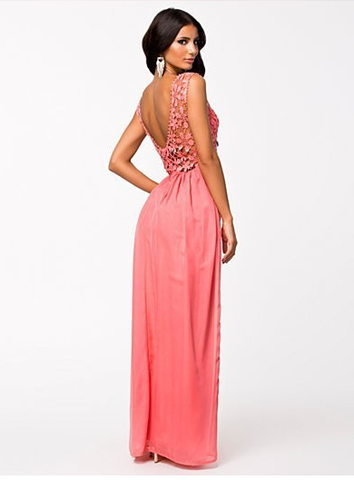 Lace Chiffon Backless Long Prom Dress - MeetYoursFashion - 6
