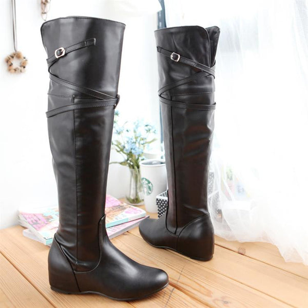 Increased Buckle Belt Strap High Tops Boots