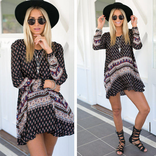 Fashion Flower Print Long Sleeves Scoop Short Loose Dress