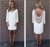 Lace Hollow Out Long Sleeves Backless Loose Short Dress - Meet Yours Fashion - 4