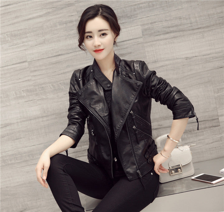 Black Oblique Zipper Slim Stand Collar Crop Jacket - Meet Yours Fashion - 4