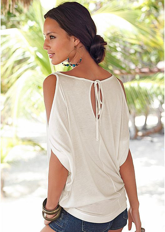 Strap Scoop Off-shoulder Casual Pure Color Sexy Blouse
