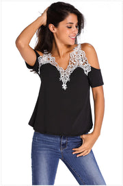 Dew Shoulder Stitching Embroidery Lace T-shirt