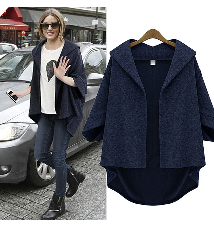 Solid 3/4 Sleeves Cardigan Batwing Plus Size Coat - Meet Yours Fashion - 4